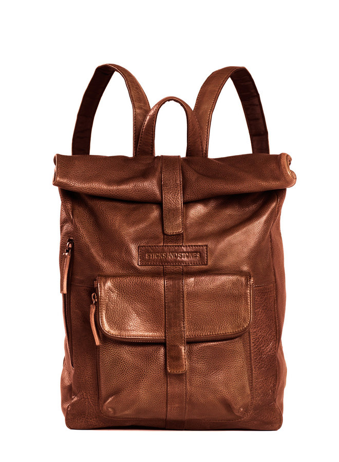 Sticksandstones Messenger Backpack - Cow Vegetable Tan, Mustang Brown
