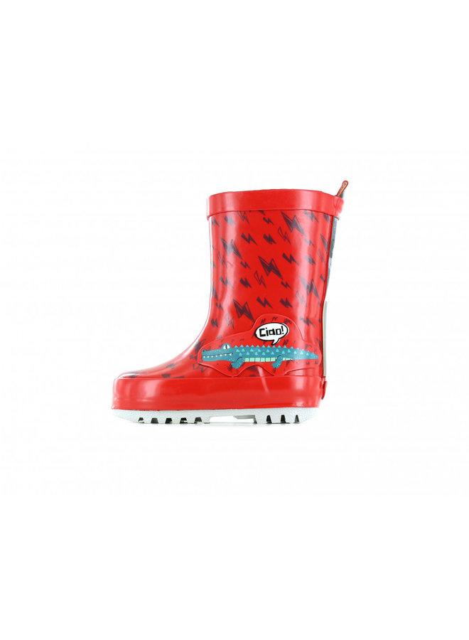 Botte de pluie rouge Go Bananas avec impression d'alligator et d'éclairs