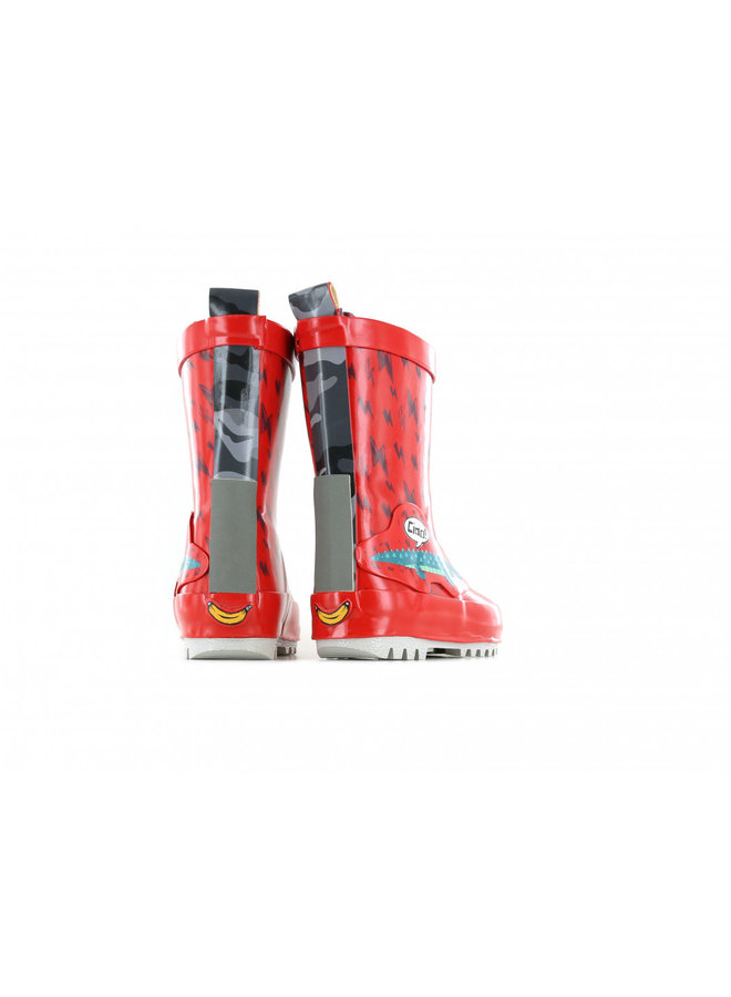 Go Bananas red rain boot with alligator and lightning print