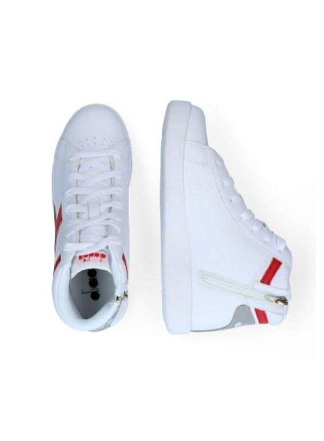 Diadora Game P High GS White/Tango Red