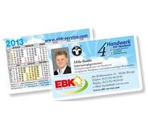 Kalender im Scheckkartenformat