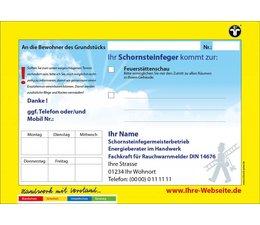 Anmeldezettel gelb Feuerstättenschau A5 quer - Schornsteinfeger / Kaminkehrer