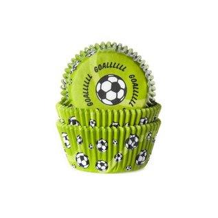 House of Marie HOM Baking cups Voetbal Groen- pk/24