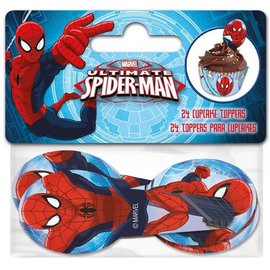 Papieren Cupcake Toppers Spiderman pk/24