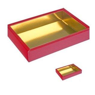 Luxe Chocoladeletter doosje Rood/Goud groot