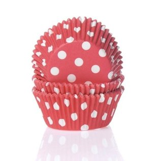 House of Marie HOM Baking cups Stip Rood- pk/24