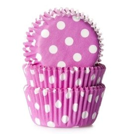 House of Marie HOM Mini Baking cups Roze met stip - pk/24