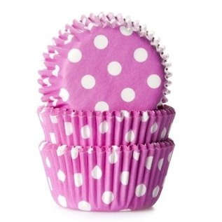 House of Marie HOM Mini Baking cups Roze met stip - pk/24