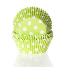 House of Marie HOM Baking cups Stip Lime Groen- pk/24