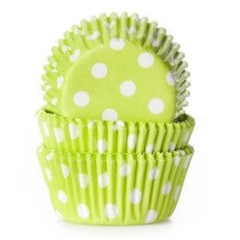 House of Marie HOM Mini Baking cups Lime Groen met stip - pk/24