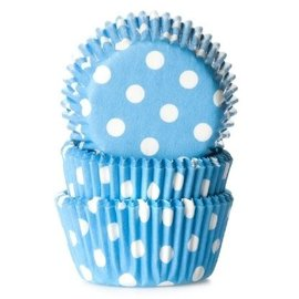 House of Marie HOM Mini Baking cups Blauw met stip - pk/24