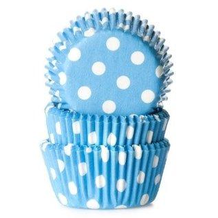 House of Marie HOM Mini Baking cups Blauw met stip - pk/24