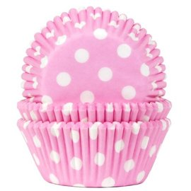 House of Marie HOM Baking Cups Stip Baby Roze- pk/50