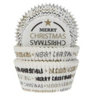House of Marie HOM Baking Cups WhiteBlackGold Christmas - pk/24