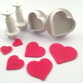 Dekofee Dekofee Plungers Patterned Hearts set/4