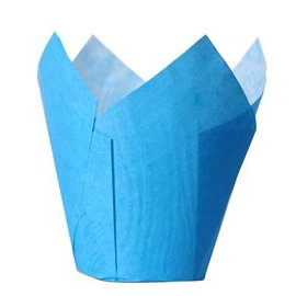 Tulpvorm Muffinpapiertjes - Blauw
