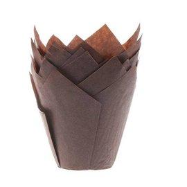 Tulpvorm Muffinpapiertjes - Bruin