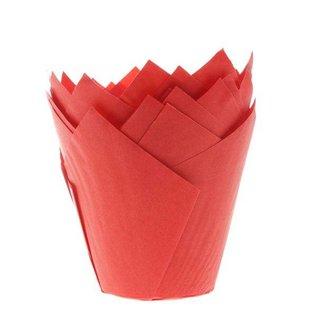Tulpvorm Muffinpapiertjes - Rood