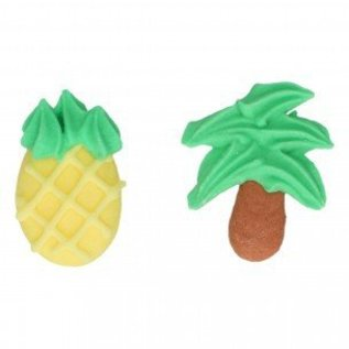 FunCakes FunCakes Suikerdecoratie Ananas & Palmbomen Set/8