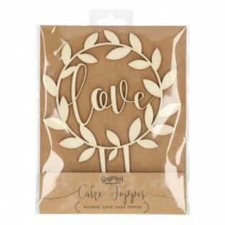 Ginger Ray Wooden Cake Topper Love - Rustic Country