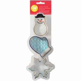 Wilton Wilton Cookie Cutter Snowman-Mitten-Snowflake Set/3