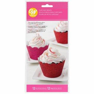Wilton Wilton Cupcake Wrappers Glitter Red & Pink pk/24