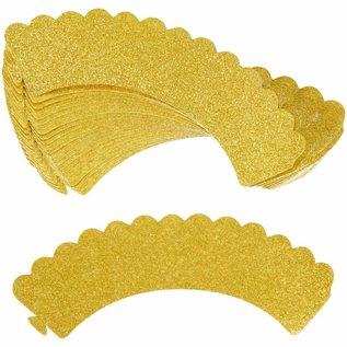 Wilton Wilton Cupcake Wraps Gold Glitter pk/24