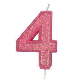 Culpitt Cijferkaars 4 - Roze met Glitter