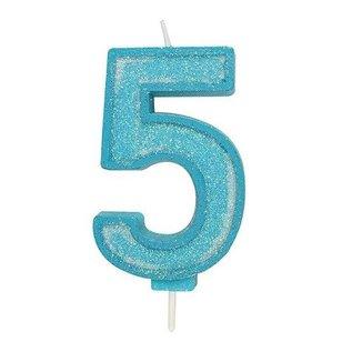 Culpitt Cijferkaars 5 - Blauw met Glitter