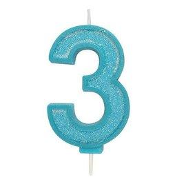 Culpitt Cijferkaars 3 - Blauw met Glitter
