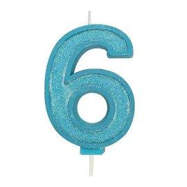 Culpitt Cijferkaars 6 - Blauw met Glitter