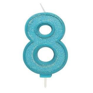 Culpitt Cijferkaars 8 - Blauw met Glitter