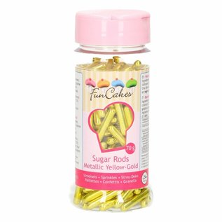 FunCakes FunCakes Metallic Sugar Rods XL -Yellow Gold- 70g