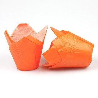 Tulpvorm Muffinpapiertjes - Oranje