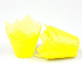 Tulpvorm Muffinpapiertjes - Geel