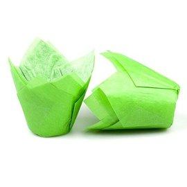 Tulpvorm Muffinpapiertjes - Groen
