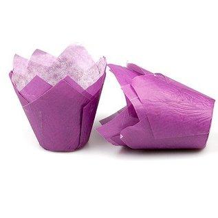 Tulpvorm Muffinpapiertjes - Paars