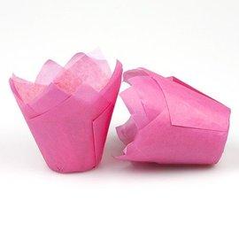 Tulpvorm Muffinpapiertjes - Roze