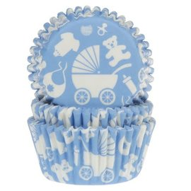House of Marie HOM Baking Cups Baby Blauw / Kinderwage - pk/24