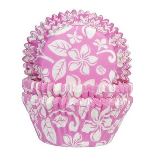 House of Marie HOM Baking Cups Aloha Bloem Roze- pk/24