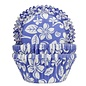 House of Marie Baking Cups Aloha Bloem Blauw- pk/24