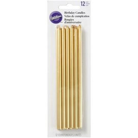 Wilton Wilton Birthday Candles Tall Gold pk/12