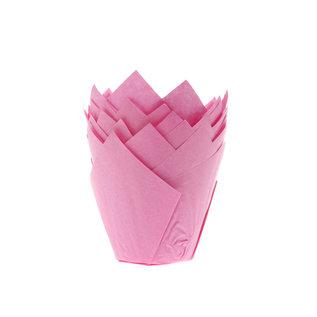 Tulpvorm Muffinpapiertjes - Licht roze