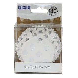 PME PME Foil Lined Baking Cups Silver Polka Dot pk/30
