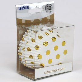 PME PME Foil Lined Baking Cups Gold Polka Dot pk/30