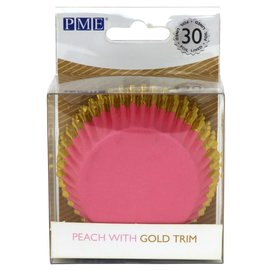 PME PME Foil Lined Baking Cups Peach with Gold Trim pk/30