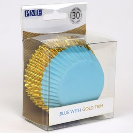 PME PME Foil Lined Baking Cups Blue with Gold Trim pk/30