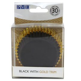PME PME Foil Lined Baking Cups Black with Gold Trim pk/30