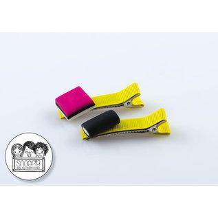 Snoepig Snoepig Haarknipjes - Engelse Drop op Gele Knipjes
