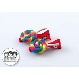 Snoepig Snoepig Haarknipjes - Swirl lolly Regenboog (rode Knipjes)